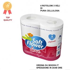 CARTA IGIENICA 4 ROTOLI SOFT FLOWER ECONOMICA E RESISTENTE 1,99€