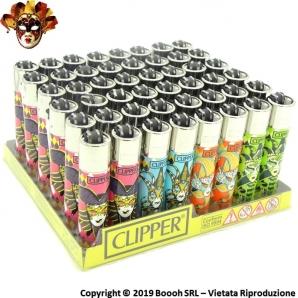CLIPPER LARGE CARNIVAL MASKS - CONFEZIONE DA 48 ACCENDINI GRANDI 33,99€