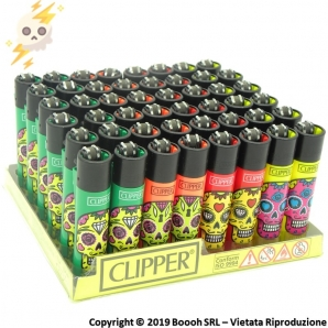 CLIPPER LARGE COLOR MIX SKULLS - CONFEZIONE DA 48 ACCENDINI GRANDI 33,99 €