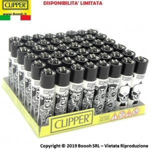 CLIPPER LARGE POKER SKULLS BLACK&WHITE - CONFEZIONE DA 48 ACCENDINI GRANDI 33,99€