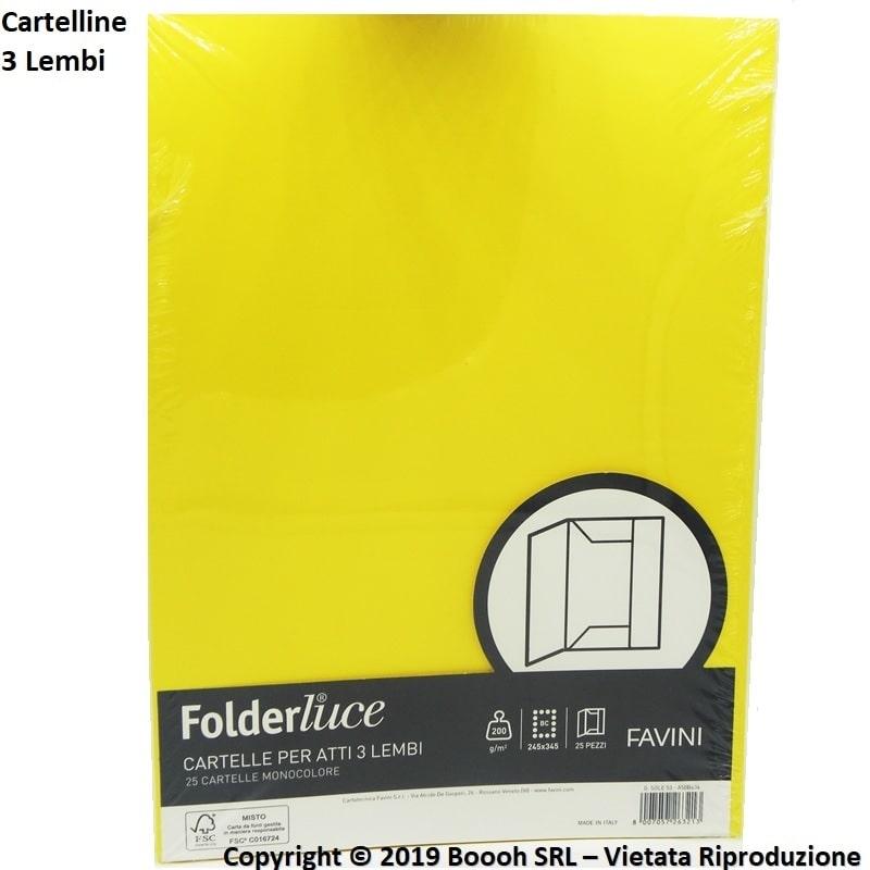 CARTELLINE GIALLE 3 LEMBI PER ATTI NOTARILI - MOD. FOLDERLUCE by FAVINI - CONFEZIONE DA 25 PEZZI 18,74€