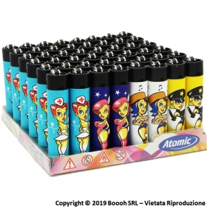 ATOMIC FESTIVAL ACCENDINO LARGE RICARICABILE FANTASIA SEXY PIN UP - BOX DA 48 ACCENDINI A PIETRINA DA COLLEZIONE 19,99 €