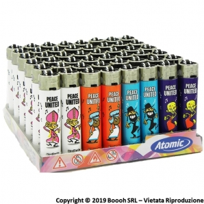 ATOMIC FESTIVAL ACCENDINO LARGE RICARICABILE FANTASIA PEACE UNITED - BOX DA 48 ACCENDINI 19,99 €