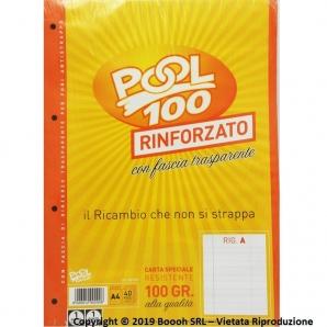 RICAMBIO RINFORZATO : FOGLI A RIGHE CON MARGINI DA 1° ELEMENTARE - CONFEZIONE DA 40 FOGLI F.TO A4 2,29€