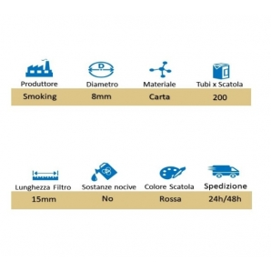 SMOKING TUBETTI CON FILTRO - BOX DA 200 SIGARETTE VUOTE 2,95€