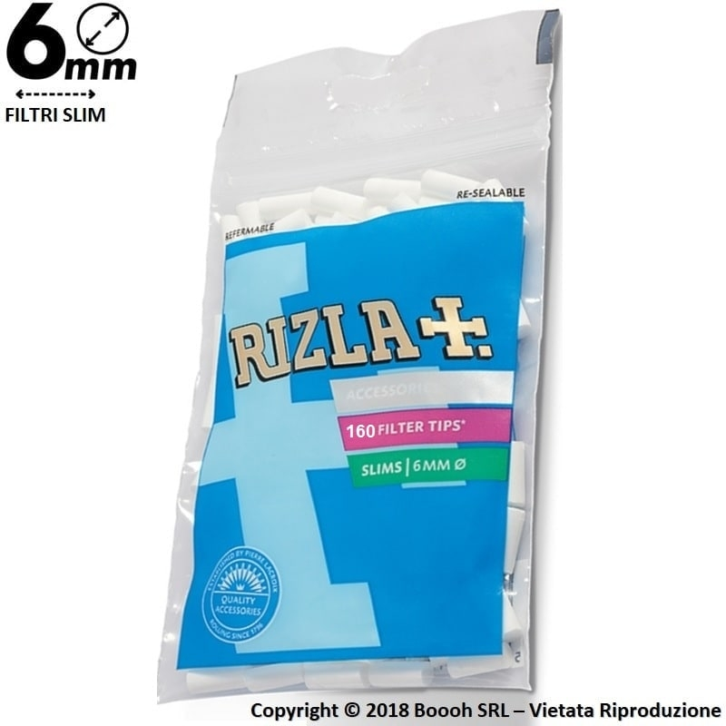 RIZLA FILTRI SLIM 6MM IN BUSTA - 1 BUSTA DA 160 FILTRI 0,87€
