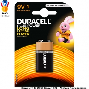 DURACELL BATTERIE 9V PLUS POWER TRANSITOR PILE ALCALINE - 1 BLISTER DA 1 PILA 2,25 €