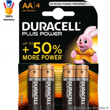 DURACELL BATTERIE AA PLUS POWER STILO ALCALINE 1,5V - 1 BLISTER DA 4 PILE