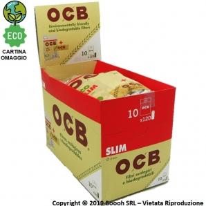 OCB FILTRI SLIM 6MM BIODEGRADABILI + CARTINA CORTA ECO OMAGGIO - BOX 10 BUSTINE DA 120 FILTRINI ECOLOGICI 21,29€