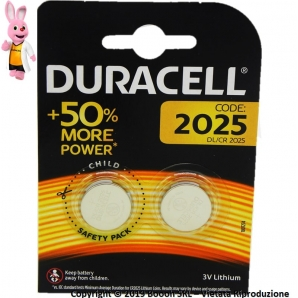DURACELL PILE DL CR 2025 BATTERIE LITIO 3V SPECIALISTICHE - 1 BLISTER 2 BATTERIE A BOTTONE 2,39 €