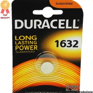 DURACELL PILE DL CR 1632 BATTERIE LITIO 3V SPECIALISTICHE - BLISTER 1 BATTERIE A BOTTONE 2,99 €