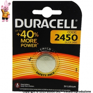 DURACELL PILE DL CR 2450 BATTERIE LITIO 3V SPECIALISTICHE - BLISTER 1 BATTERIE A BOTTONE 2,29 €