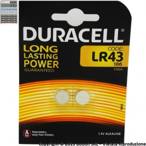 DURACELL BATTERIE LR43 ALCALINE 1,5V - BLISTER DA 2 PILE 1,49€