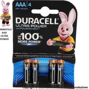 DURACELL AAA BATTERIE ALCALINE MINISTILO 1,5V ULTRA POWER CON POWER-CHECK - BLISTER DA 4 4,39€