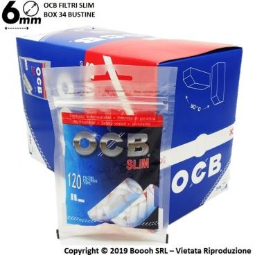OCB FILTRI SLIM 6MM LISCI IN SPUGNA - BOX DA 34 BUSTINE DA 120 FILTRI