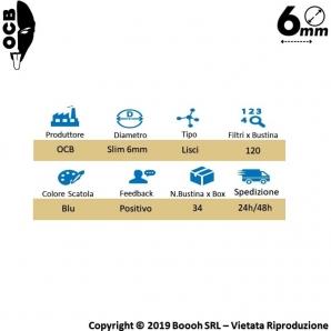 OCB FILTRI SLIM 6MM LISCI IN SPUGNA - BOX DA 34 BUSTINE DA 120 FILTRI 45,71€