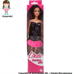 LINDA FASHION GIRL : BAMBOLA SNODABILE CON VESTITO NERA E CAPELLI CASTANI | IDEA REGALO 7,89 €