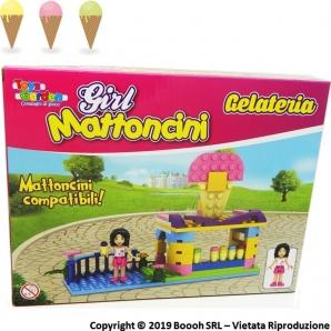 BLICK BLOCK GIRL AMBIENTAZIONE GELATERIA MATTONCINI PER COSTRUZIONI COMPATIBILI - BELLISSIMA IDEA REGALO 9,49€