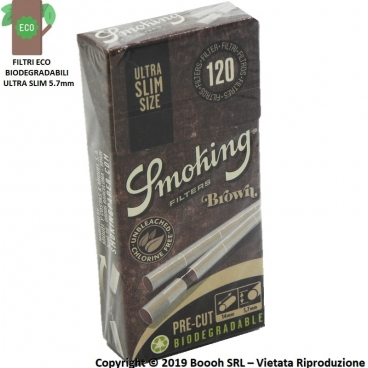 SMOKING FILTRI BROWN BIODEGRADABILI ULTRA SLIM 5,7mm ECOLOGICI - ASTUCCIO DA 120 FILTRINI