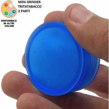 TRITATABACCO 2 PARTI : MINI GRINDER IN PLASTICA DIAMETRO ø 4,2 cm SUPERFICIE IN SILICONE COLORI ASSORTITI