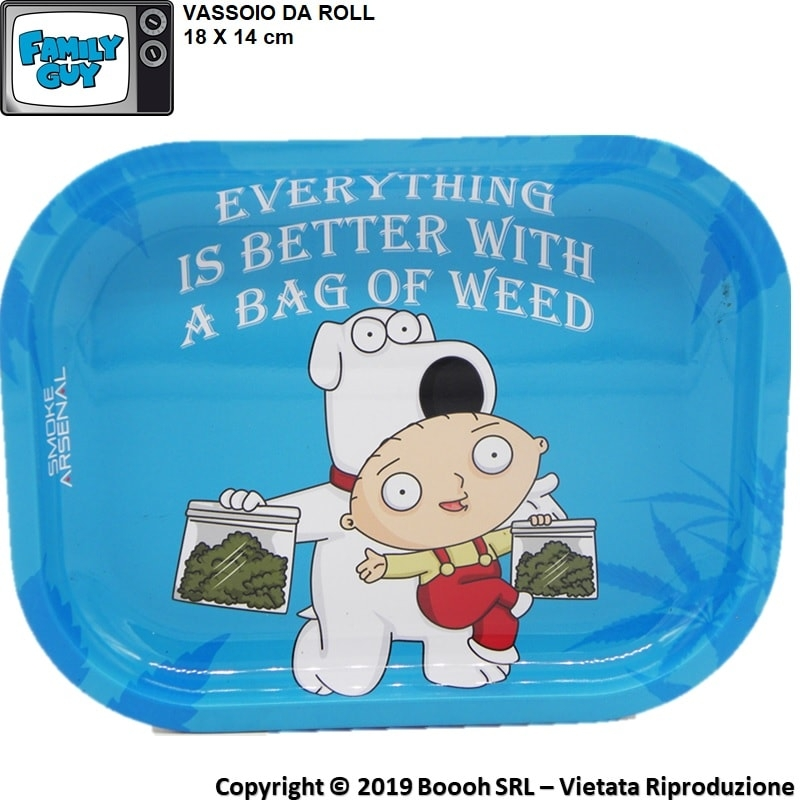 VASSOIO PER ROLLARE STEWIE E BRIAN GRIFFIN IDEA REGALO - PROFESSIONAL SMALL ROLLING TRAY by SMOKE ARSENAL 10,99 €