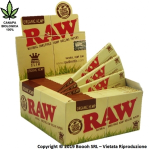 RAW CARTINE HEMP KING SIZE LUNGHE SLIM IN CANAPA BIOLOGICA 100% - CONFEZIONE DA 50 LIBRETTI DA 32 CARTINE 37,63 €