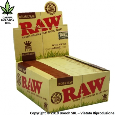 RAW CARTINE HEMP KING SIZE LUNGHE SLIM IN CANAPA BIOLOGICA 100% - CONFEZIONE DA 50 LIBRETTI DA 32 CARTINE