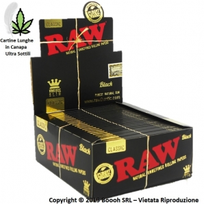 RAW BLACK CARTINE LUNGHE SLIM KING SIZE ULTRA SOTTILI IN PURA CARTA DI CANAPA - CONFEZIONE DA 50 LIBRETTI 52,33 €