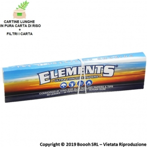 ELEMENTS CONNOISSEUR CARTINE LUNGHE KING SIZE SLIM IN CARTA DI RISO + FILTRI DI CARTA - LIBRETTI SFUSI 1,29 €
