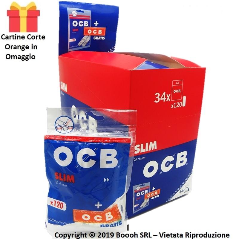 FILTRI SPUGNA OCB SLIM 6MM LISCI + CARTINA CORTA ORANGE IN OMAGGIO - CONFEZIONE DA 34 BUSTINE DA 120 FILTRI 17,09€