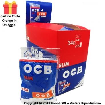 FILTRI SPUGNA OCB SLIM 6MM LISCI + CARTINA CORTA ORANGE IN OMAGGIO - CONFEZIONE DA 34 BUSTINE DA 120 FILTRI
