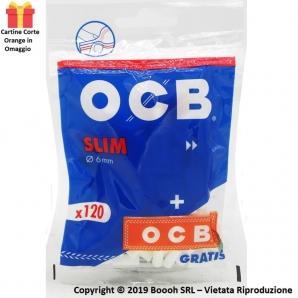 OCB BAG FILTRI SPUGNA SLIM 6MM LISCI + CARTINA CORTA ORANGE IN OMAGGIO - 1 BUSTINA DA 120 FILTRI + 50 CARTINE 0,79€