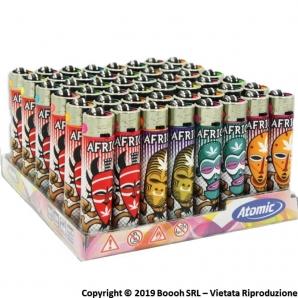ATOMIC FESTIVAL AFRICA MASK ACCENDINO LARGE RICARICABILE - BOX DA 48 ACCENDINI CON FIAMMA REGOLABILE 19,99€