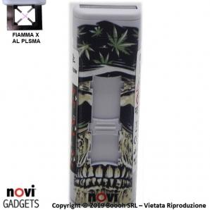ACCENDINO NOVI IXNITE WHITE SKULL & WEED - RICARICABILE USB E ACCENSIONE FIAMMA AL PLASMA X | IDEA REGALO 15,39€