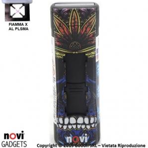 ACCENDINO NOVI IXNITE BLACK SKULL & WEED - RICARICABILE USB E ACCENSIONE FIAMMA AL PLASMA X | IDEA REGALO 15,39€