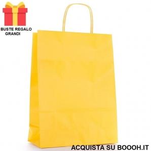 BUSTE REGALO GIALLA DI CARTA CON MANICO - MISURE 36 X 26 | SFUSE O CONFEZIONE COMPLETA 0,99€