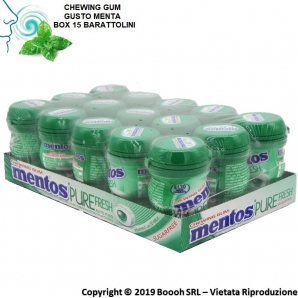 MENTOS PURE FRESH SPEARMINT NANO BOTTLE CHEWING GUM GUSTO MENTA FRESCA - BOX DA 15 BARATTOLINI 16,48 €