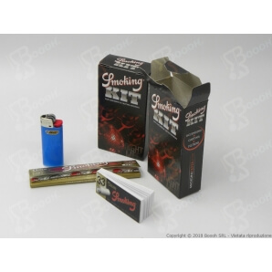 SMOKING KIT 3PZ CARTINA LUNGA GOLD + ACCENDINO BIC MINI + FILTRO CARTA BLACK 1,69 €