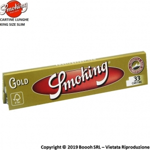 SMOKING CARTINE GOLD KING SIZE SLIM LUNGHE ORO - LIBRETTI SFUSI 0,65 €