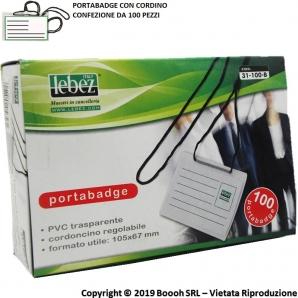 PORTA BADGE E PORTANOME IN PVC CON CORDINO PER APPENDERLO AL COLLO - CONFEZIONE DA 100 PEZZI 28,31€