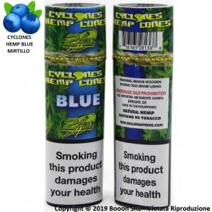 CONI PREROLLATI CYCLONES BLUE IN PURA CANAPA GUSTO MIRTILLO - PRE ROLLED BLUNT HEMP CONES | CILINDRI SFUSI 1,86€