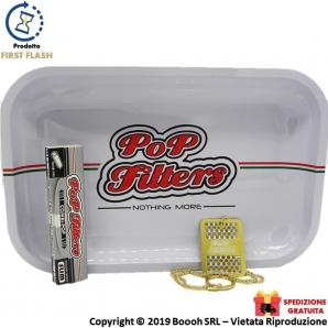 VASSOIO METALLO PER ROLLARE by POP FILTERS + OMAGGIO GRINDER CARD E CARTINE LUNGHE COMBI POP SILVER SLIM | SPEDIZIONE GRATUIT...