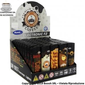 ACCENDINI ELETTRONICI ACCENSIONE A SCATTO PIEZO - COFFE TIME | BOX DA 50 ACCENDINI RICARICABILI E CON FIAMMA REGOLABILE 14,49€