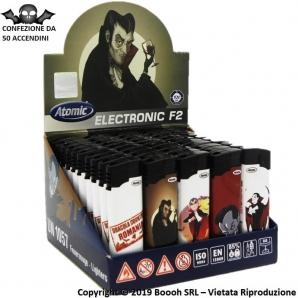 ACCENDINI ELETTRONICI ACCENSIONE A SCATTO PIEZO - CONTE DRACULA | BOX DA 50 ACCENDINI RICARICABILI E CON FIAMMA REGOLABILE 14...