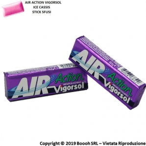 AIR ACTION VIGORSOL ICE CASSIS CHEWING GUM VIOLA - STICK SFUSI | GOMME DA MASTICARE 0,99 €
