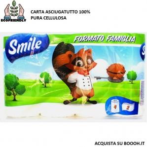SMILE LUCART CARTA CUCINA ASCIUGATUTTO 2 VELI 100% PURA CELLULOSA - CONFEZIONE 4 ROTOLI FORMATO FAMIGLIA 1,49€