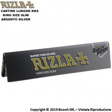 RIZLA CARTINE ARGENTO LUNGHE KING SIZE SLIM SILVER - 1 LIBRETTO DA 32 CARTINE