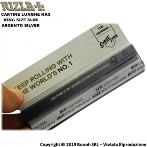 RIZLA CARTINE ARGENTO LUNGHE KING SIZE SLIM SILVER - 1 LIBRETTO DA 32 CARTINE 0,69 €