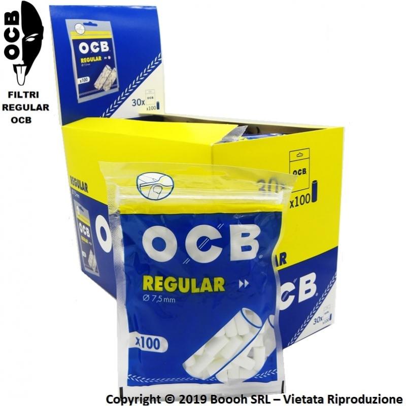OCB FILTRI REGULAR 7,5mm LISCI INCARTATI - BOX DA 30 BUSTINE DA 100 FILTRI 41,99€