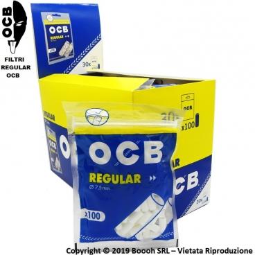 OCB FILTRI REGULAR 7,5mm LISCI INCARTATI - BOX DA 30 BUSTINE DA 100 FILTRI